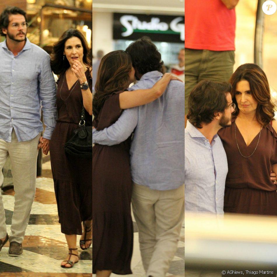 Namoro? Fátima Bernardes troca carinhos e anda de mãos dadas em shopping no feriado desta quinta-feira, dia 02 de novembro de 2017