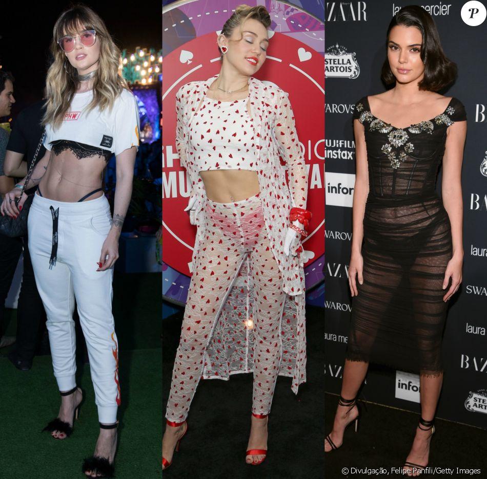 Aline Gotschalg, Miley Cyrus e Kendall Jenner já ousaram em looks com lingerie à mostra. Veja mais famosas adeptas da tendência!