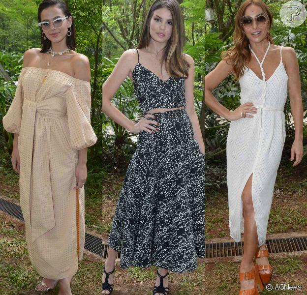 Bruna Marquezine, Camila Queiroz e Sabrina Sato exibiram prduções leves no desfile da coleção de Paula Laia em parceria com Riachuelo. Veja os looks de mais famosas!