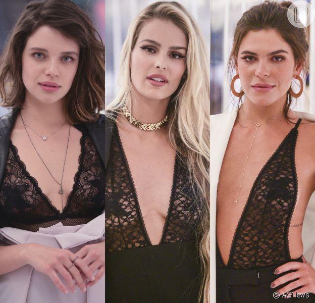 Bruna Linzmeyer, Yasmin Brunet e Mariana Goldfarb exibem adesivos nos seios em lançamento de grife de lingerie. Confira!
