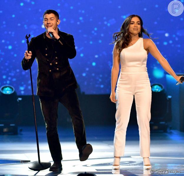 Anitta e Nick Jonas fizeram show em festa pré-Grammy latino, em Las Vegas, nos Estados Unidos, na noite desta quarta-feira, 15 de novembro de 2017