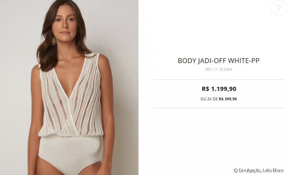 7be024c7d Body decotado usado por Julina Paes pode ser encontrado na loja virtual da Le  Lis Blanc por R  1.199