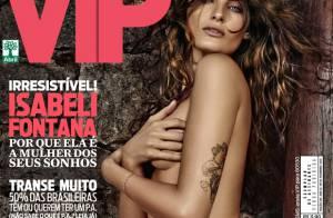 Isabeli Fontana posa sem sutiã e de shortinho para capa de revista