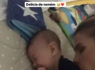 Andressa Suita beija o filho, Gabriel, e arranca risos do bebê: 'Delícia'. Vídeo