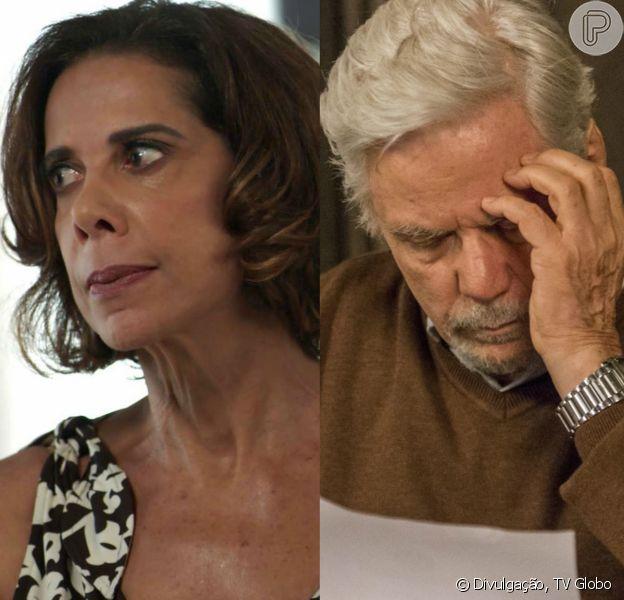 Na novela 'Pega Pega', Lígia (Ângela Vieira) falará para Athaíde (Reginaldo Vieira) que fugirá do Brasil para não ser presa pela morte de Mirella (Marina Rigueira)
