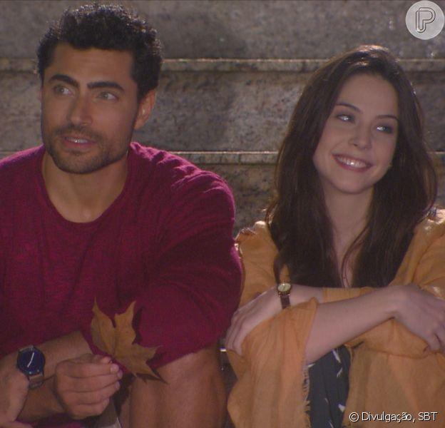 Gustavo (Carlo Porto) e Cecília (Bia Arantes) agitam os preparativos para o casamento dos dois, na novela 'Carinha de Anjo'