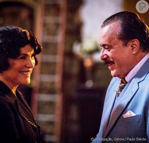 Em cena que vai ao ar a partir do dia 12 de janeiro de 2018, na novela 'Tempo de Amar', Lucerne (Regina Duarte) planejará dar um golpe em José Augusto (Tony Ramos)