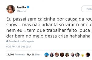 Anitta conta que não usou calcinha no Réveillon 2017: 'Meia-calça apenas'