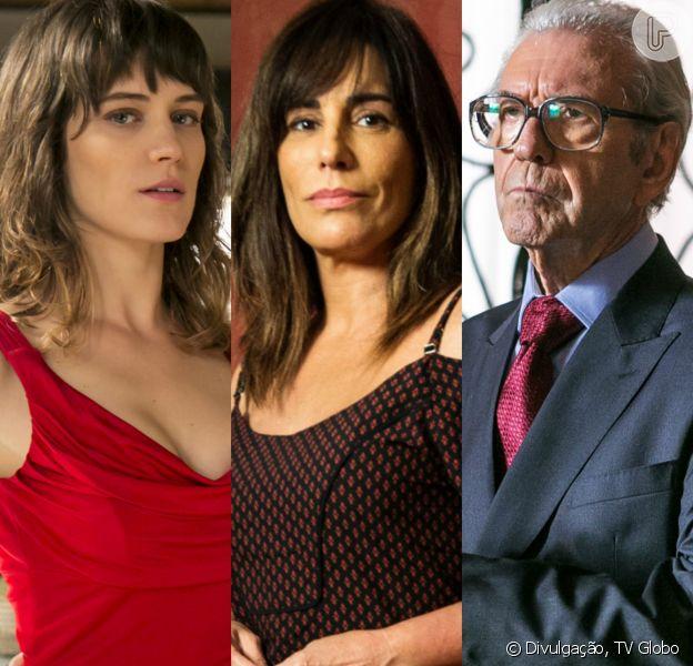 Natanael (Juca de Oliveira) tenta matar Duda (Gloria Pires) mas Clara (Bianca Bin) o impede, na novela 'O Outro Lado do Paraíso'