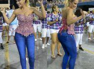 Ellen Rocche desfila em ensaio técnico da Rosas de Ouro de calça jeans. Fotos!