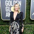Margot Robbie vestiu Gucci  na 75ª edição do Globo de Ouro, realizado no hotel The Beverly Hilton, na Califórnia, neste domingo, 7 de janeiro de 2018
