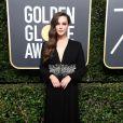 Katherine Langford de Prada  na 75ª edição do Globo de Ouro, realizado no hotel The Beverly Hilton, na Califórnia, neste domingo, 7 de janeiro de 2018