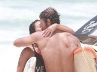 Dani Suzuki e o namorado, Fernando Roncato, trocam beijos após surfarem. Fotos!