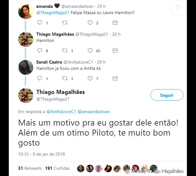 Marido de Anitta, Thiago Magalhães usa bom-humor para responder internautas no Twitter