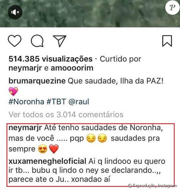 Neymar e Xuxa Meneghel comentaram no vídeo postado por Bruna Marquezine