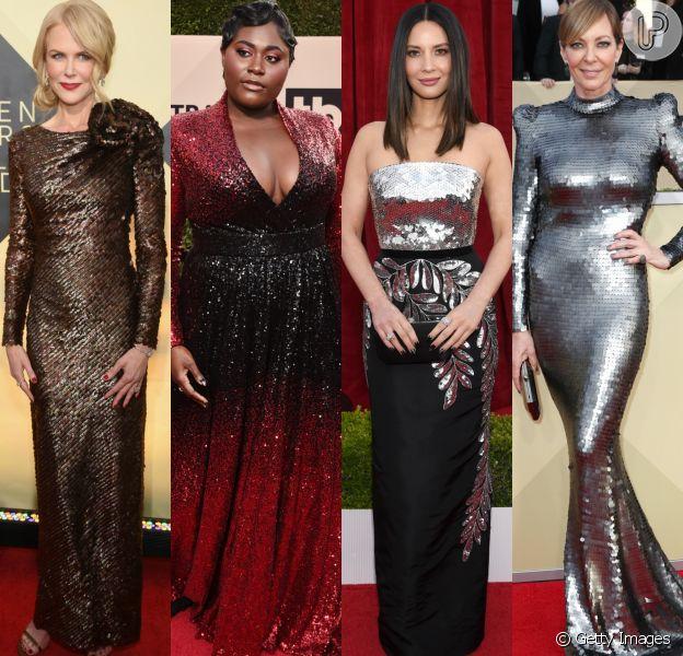 Nicole Kidman, Danielle Brooks, Olivia Munn e Allison Janney apostaram no brilho dos paetês para cruzar o tapete vermelho do SAG Awards 2018. Veja mais looks: