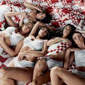 De lingerie, Kylie Jenner esconde barriga em ensaio com as irmãs. Veja fotos!