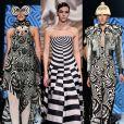 1) Trompe-l'oeil: o jogo de perspectiva levou a ilusão de ótica para o desfile da  Dior (foto 1 e 3) e de Jean-Paul Gaultier (foto 2 e 4)