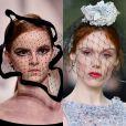 2) Voilette: muito usado no início do século XX, o pequeno véu que cobre parte do rosto ganhou diferentes formas nos desfiles das grifes Ralph & Russo, Dior e Chanel