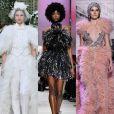 9) Plumas: as penas deram leveza ao moderno look de noiva da Chanel e às produções de Giorgio Armani, Elie Saab, Zuhair Murad e Ralph & Russo