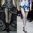 8) Meia-calça decorada: tanto no desfile de Zuhair Murad, quanto de Giorgio Armani, a meia-calça ganhou ar de requinte ao receber aplicações brilhosas e estamparia, respectivamente