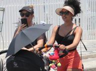 Sheron Menezzes passeia na orla do Rio de Janeiro com amiga e o filho, Benjamin