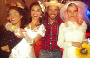 Juliana Paes e Bruna Linzmeyer aparecem vestidas de noiva em festa junina no Rio