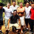Luciano Huck, Ronaldo e a equipe da reportagem