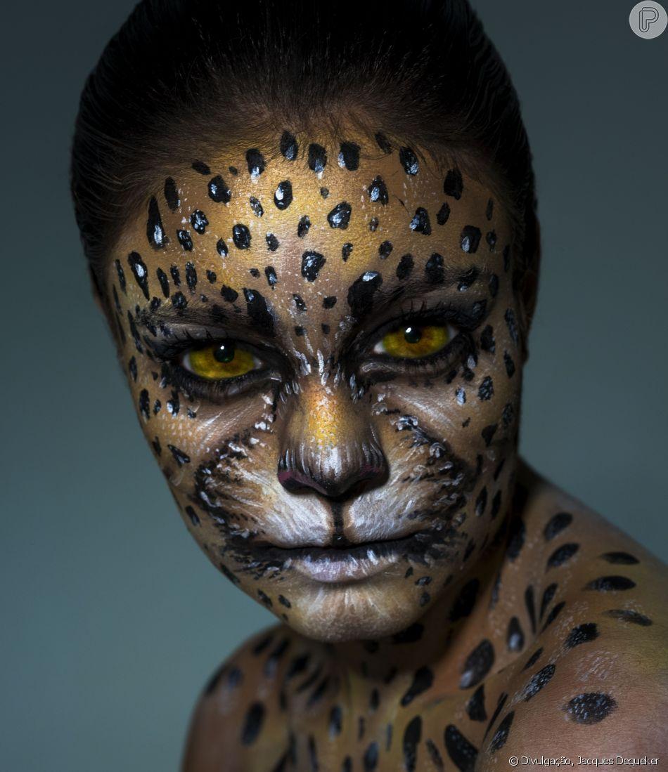 Representando a onça pintada, Sophie Charlotte aparece irreconhecível em campanha da Kryolan com AMPARA Animal