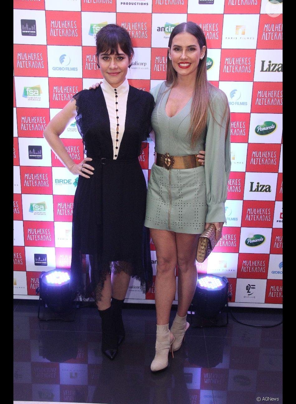Alessandra Negrini e Deborah Secco apostaram na dobradinha vestido e sock boots para a pré-estreia do filme 'Mulheres Alteradas', no Kinoplex Leblon, na Zona Sul do Rio de Janeiro, na noite desta segunda-feira, 25 de junho de 2018