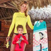 Ana Hickmann curte viagem com filho e pratica kitesurf: 'Quero trazer o marido'