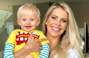 Karina Bacchi parabeniza Amaury Nunes por primeiro Dia dos Pais: 'Enrico te ama'