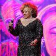 A cantora Alcione usou look longo repleto de bordados