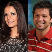 Nivea Stelmann e ex-marido, Mario Frias, posam juntos ao gravar 'Verão 90 graus'