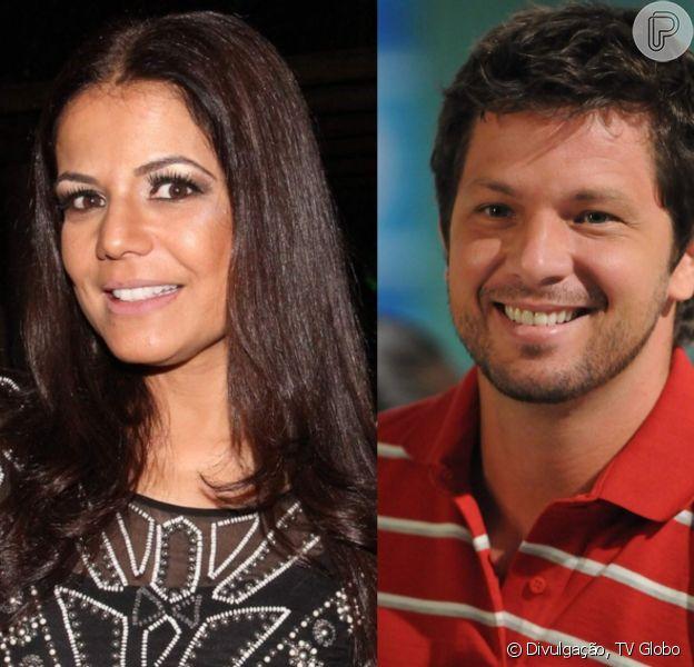 Nivea Stelmann e ex-marido, Mario Frias, posam juntos ao gravar 'Verão 90 graus' nesta segunda-feira, dia 22 de outubro de 2018