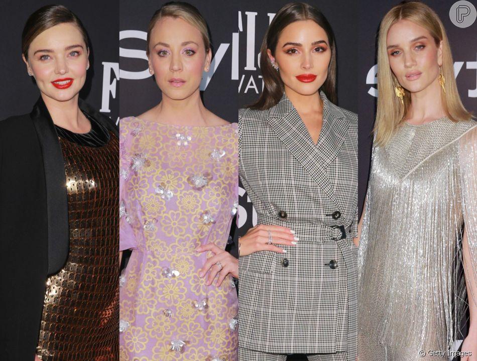 Maquiagem colorida e vestidos longos predominam nos looks das famosas no InStyle 2018