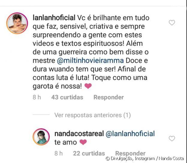 Nanda Costa recebe comentário romântico da namorada