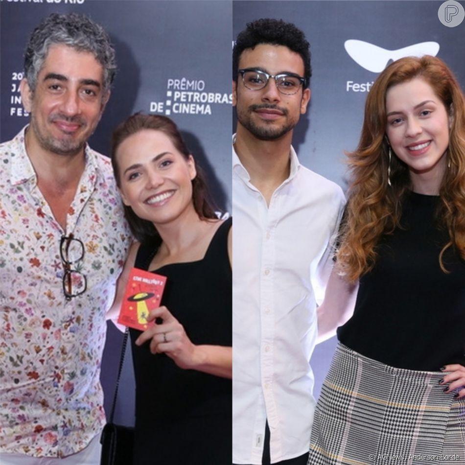 Noite dos casais! Letícia Colin e o marido, Michel Melamed, e Sophia Abrahão e o namorado, Sergio Malheiros, conferiram o filme 'Cine Holliúdy 2 - A Chibata Sideral', no Cine Odeon, no Centro do Rio, na noite deste sábado, 3 de novembro de 2018