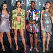 Famosas usam conjuntos, looks acinturados e penteados trends em desfile Versace