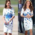 O vestido LK Bennett, com flores azuis desenhadas, foi aposta de Kate Middleton em agosto de 2016. O mesmo modelo foi usado pela duquesa em uma visita à Austrália em 2014
