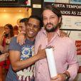 Marcelo Serradoprestigiou estreia da peça 'Susto', no teatro Os 4, no Rio de Janeiro, na noite desta terça-feira, 15 de janeiro de 2018