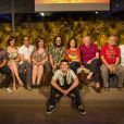 Guta Stresser ao lado do elenco da última temporada do seriado 'A Grande Família', que foi ao ar em setembro de 2014