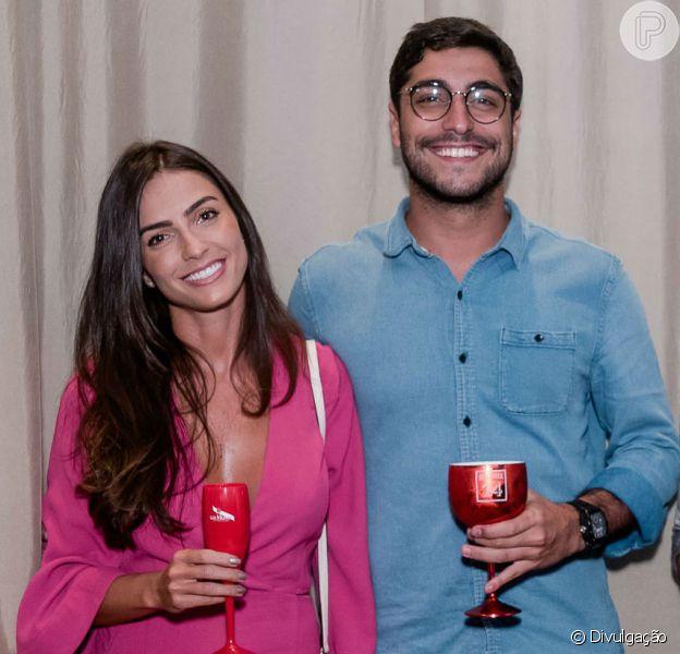 Thiago Magalhães, ex-marido de Anitta, ao lado de Audrey Banzi durante a inauguração do Camarote da Allegria na terça-feira, 13 de fevereiro de 2019