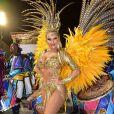 A atriz Ellen Rocche é rainha de bateria da escola de samba Rosas de Ouro, que ficou em 3º lugar em SP. Ela disse não ter opinado na confecção da fantasia esse ano.