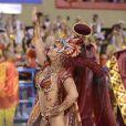 Viviane Araujo, que também desfilará em SP, é rainha de bateria do Acadêmicos do Salgueiro, que ficou em 5º lugar no Rio. A fantasia dela foi inspirada na borboleta de Oyá, um orixá da religião de matriz africana. No sábado, a atriz de 'O Sétimo Guardião' estará de volta à Avenida