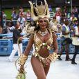 Camila Silva é rainha de bateria da Mocidade de Padre Miguel, que ficou em 6º lugar no Rio. Sua fantasia representava a ganância dos seres humanos.