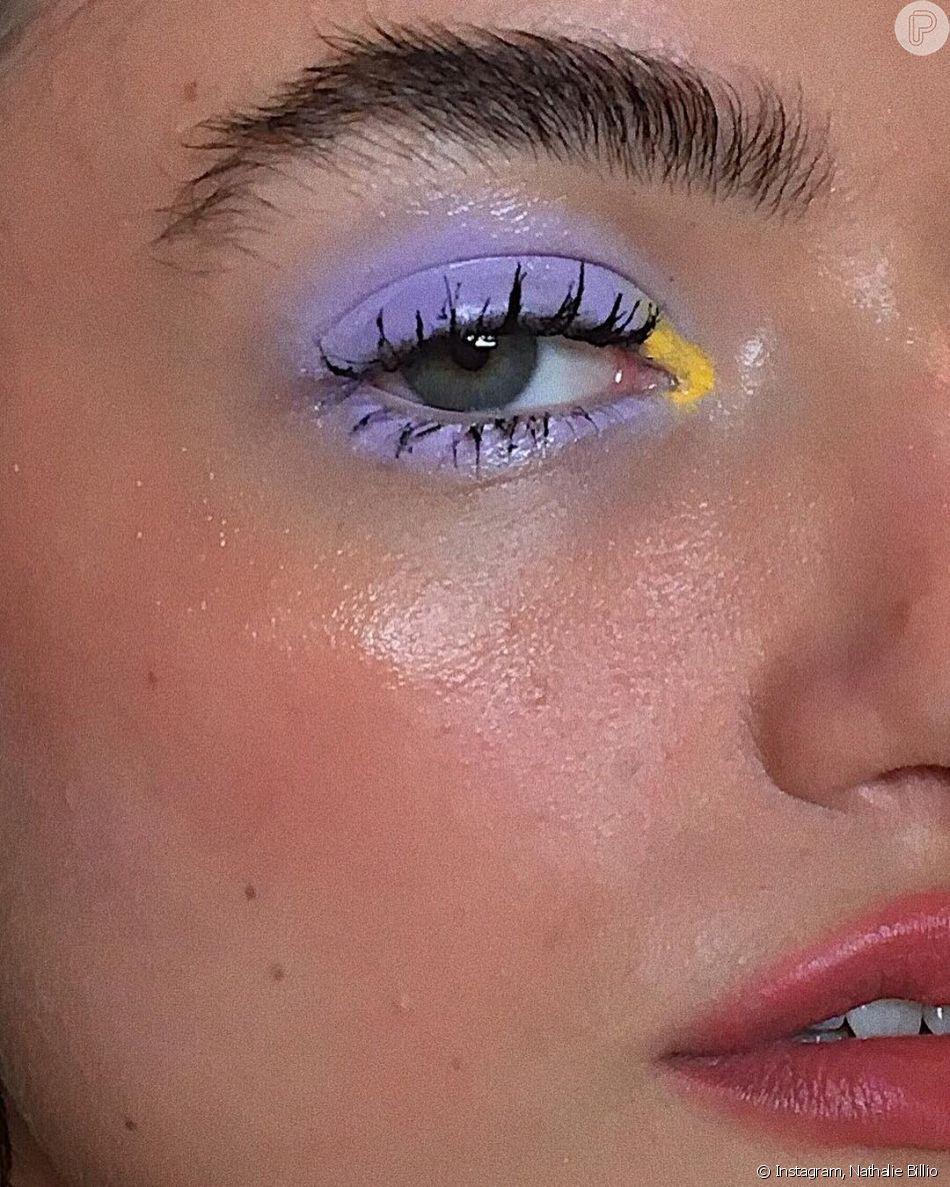 Quem tem pálpebra gordinha pode focar no esfumado na pálpebra toda e colocar uma cor mais acesa no cantinho interno do olho