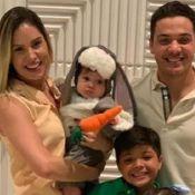 Wesley Safadão e Thyane Dantas fantasiam o filho, Dom, de coelhinho em festa