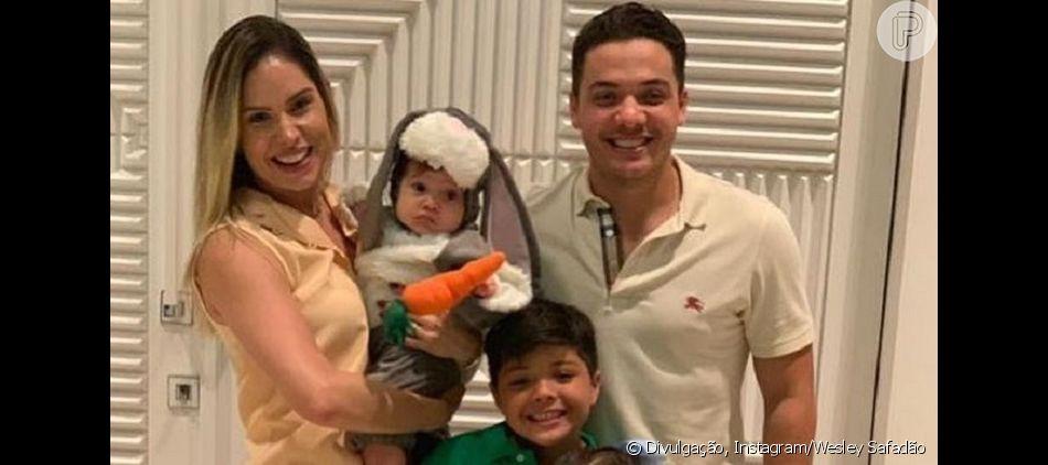 Wesley Safadão e Thyane Dantas fantasiam o filho, Dom, de coelhinho em festa na segunda-feira, dia 22 de abril de 2019