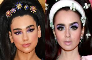 Coincidência fashion: Dua Lipa e Lily Colins usam duas trends no baile do MET